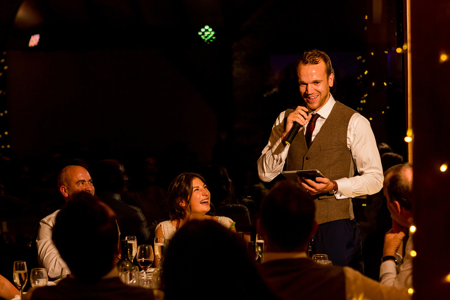 groom gives speech at wedding reception, captured by Dodford Manor wedding photographer - Elliot W Patching