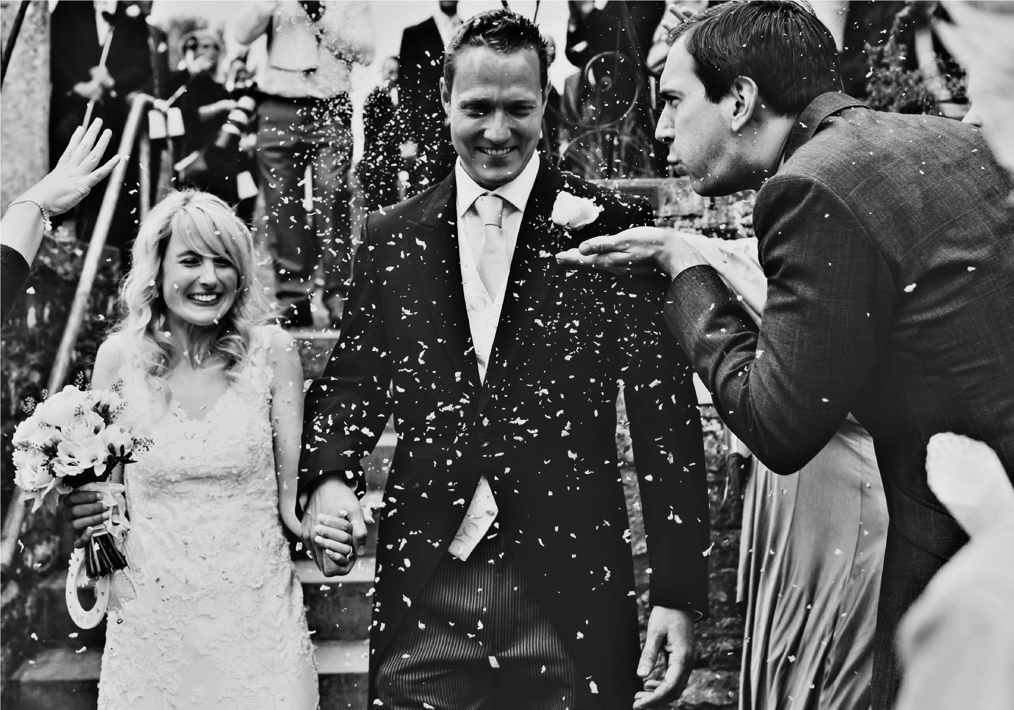 Groom and bride black and white documentary shot by Northampton wedding photographer