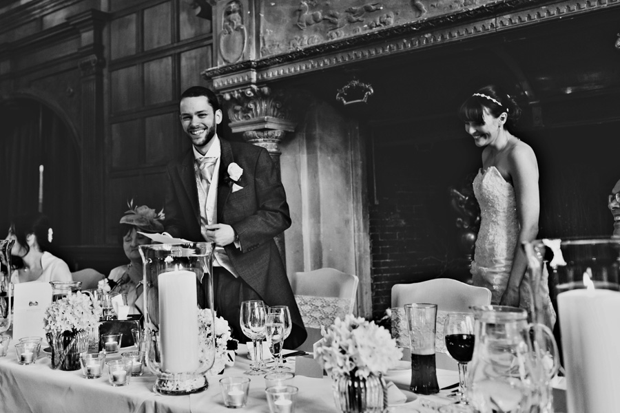 a bride and groom during the speeches