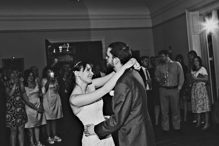 a bride and grooms first dance