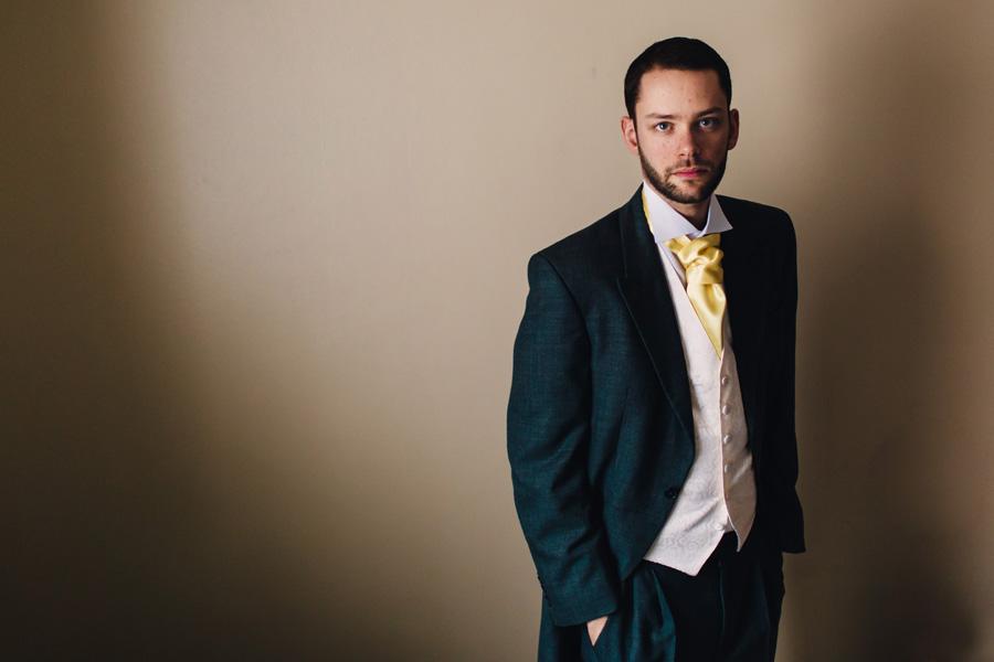 a colour photograph of a groom