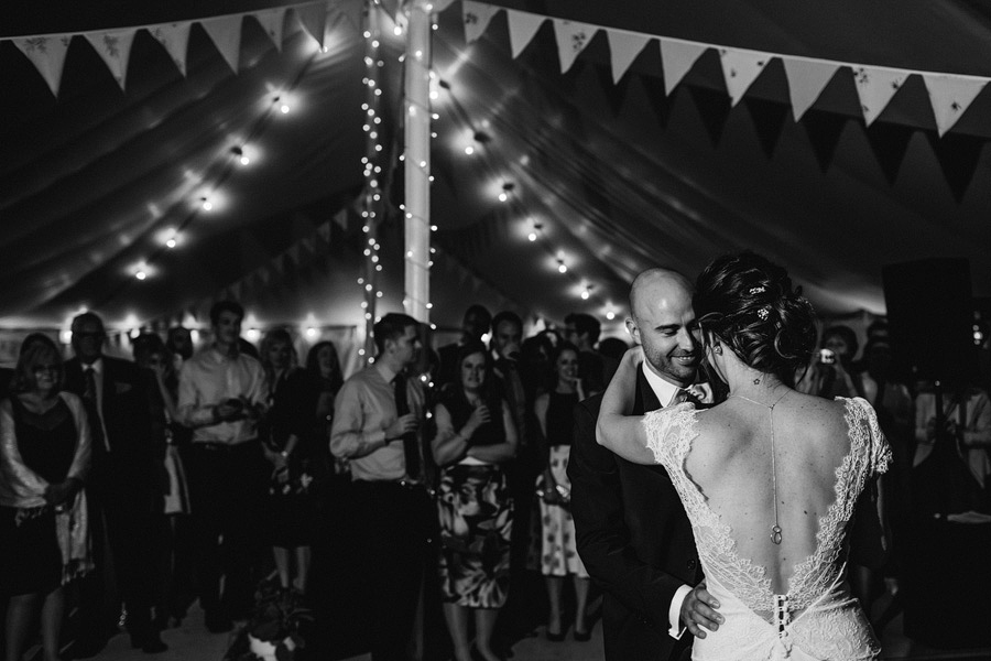 newlyweds have their first dance - Northampton marquee wedding photography