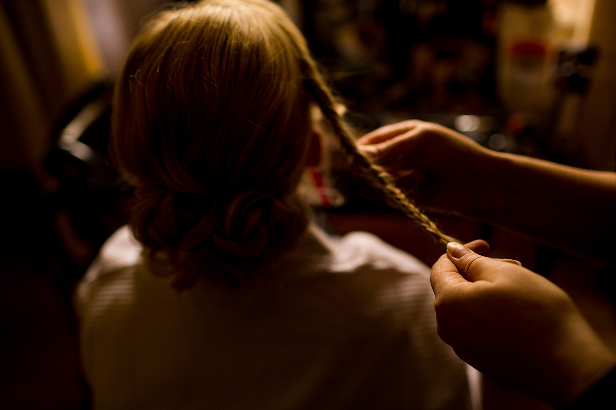 Robyn the bride having her bridal hair finished