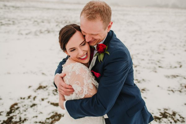 a snowy wedding at Dodford manor