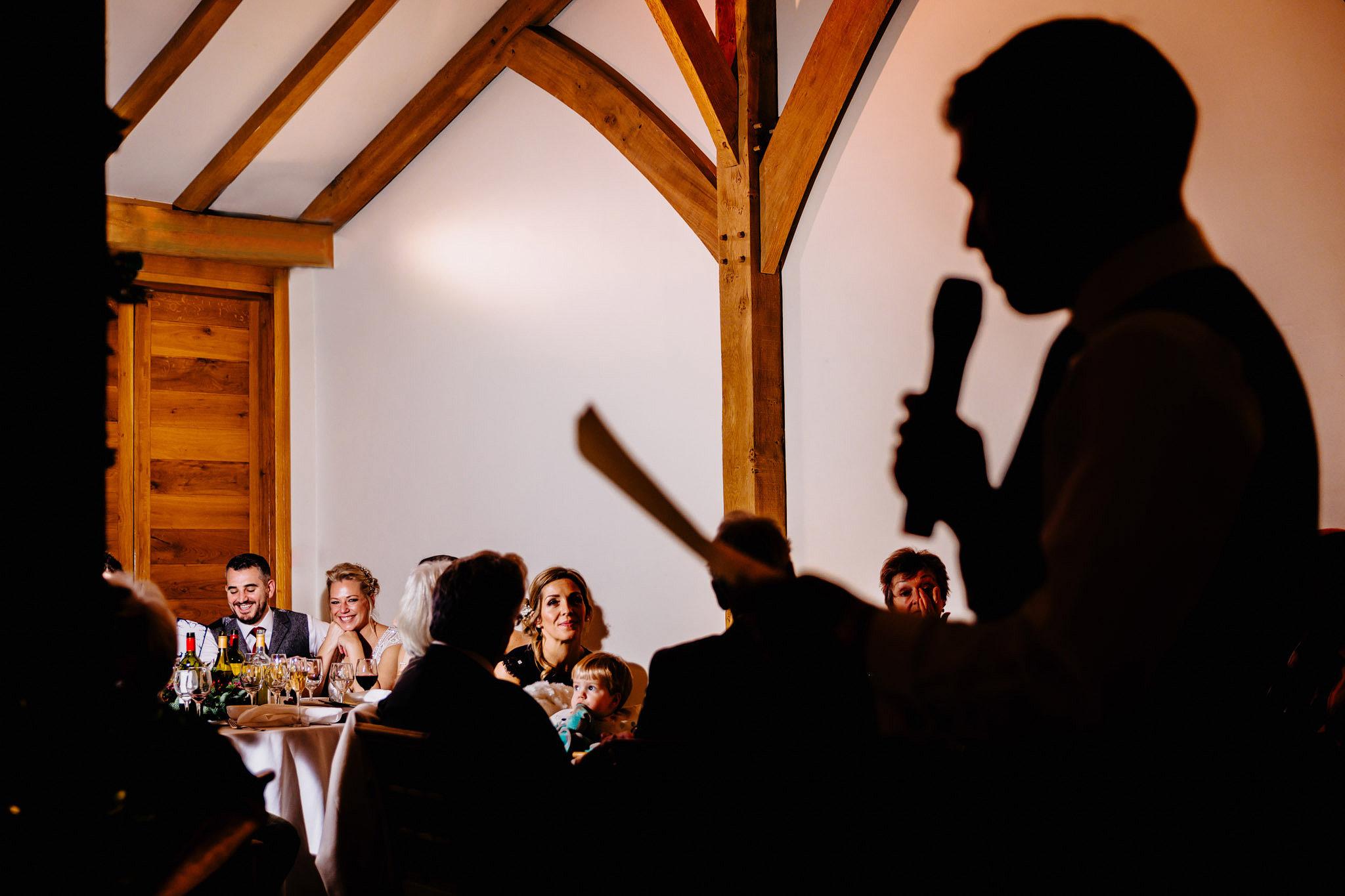 a photograph of a wedding speech