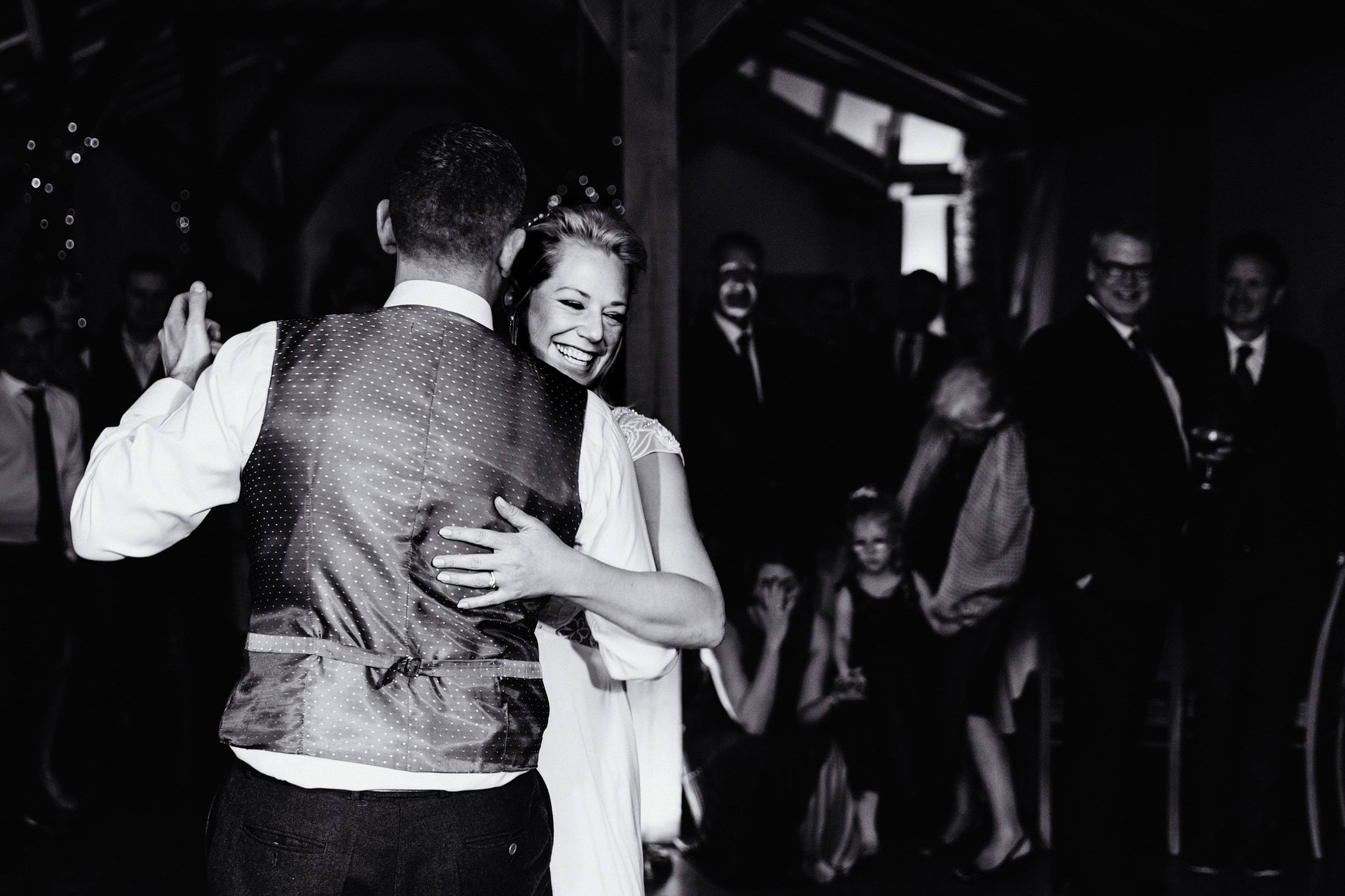 a black and white image of a first dance