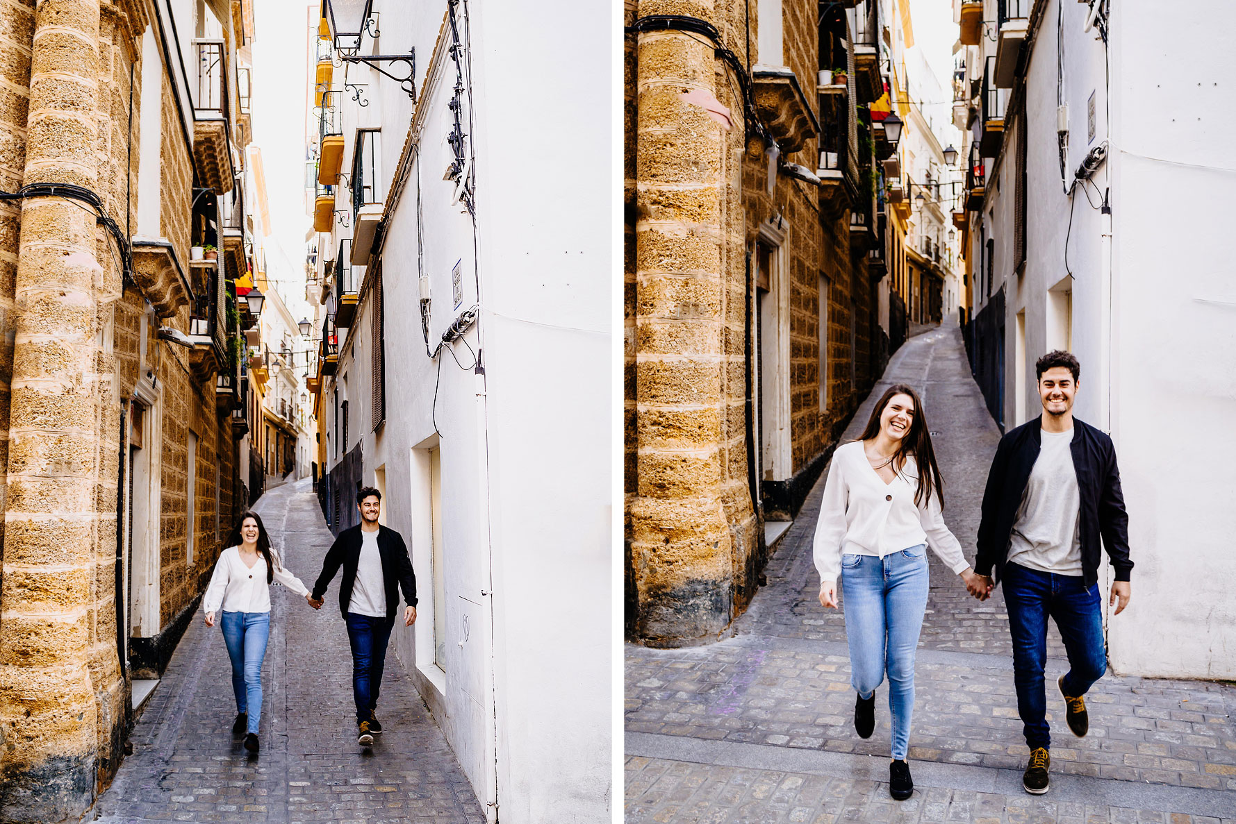 walking through Cadiz old town hand in hand