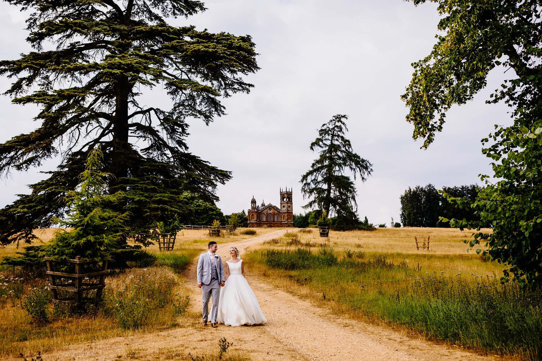 a bride and groom at stowe landscape gardens