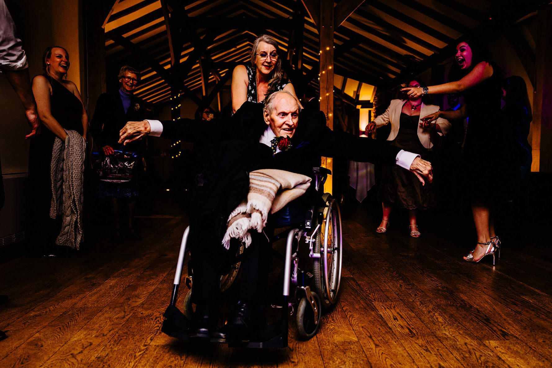 an elderly guest on the dancefloor