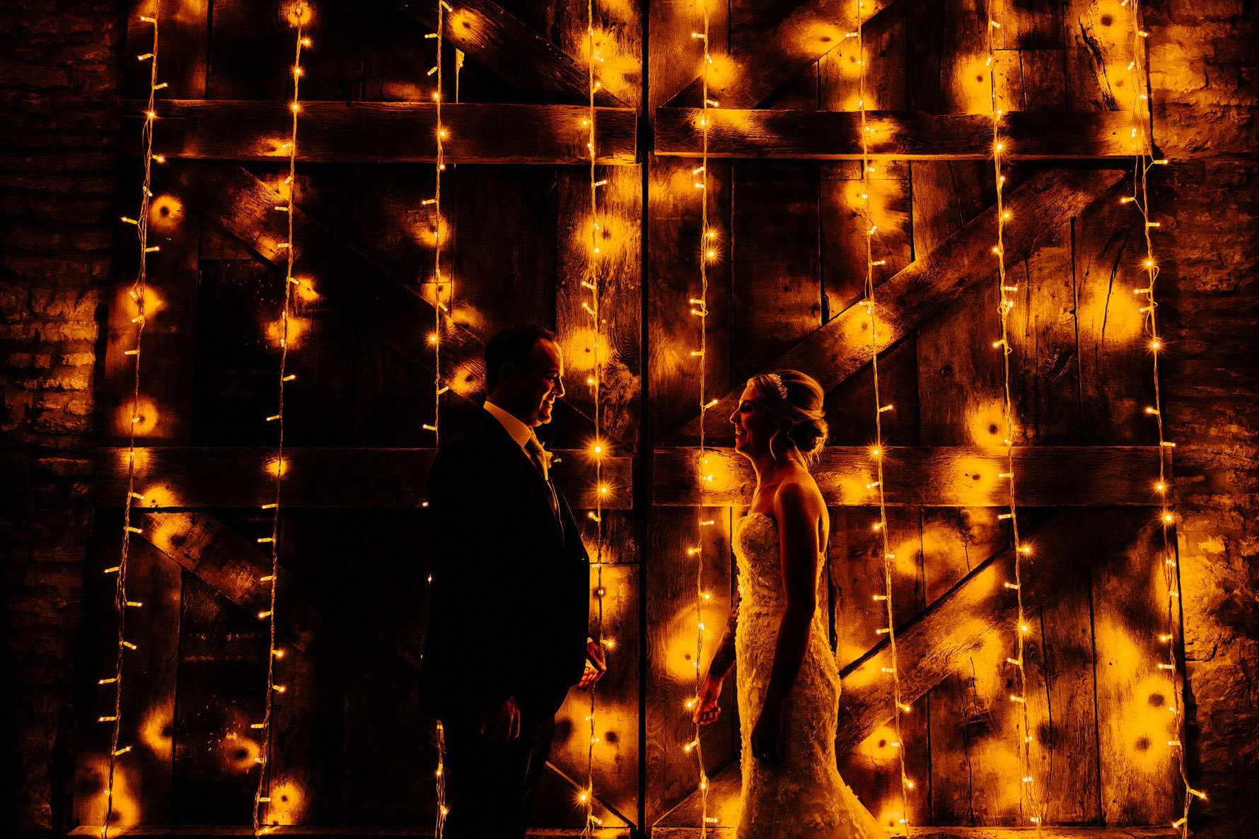 wedding photography with fairy lights