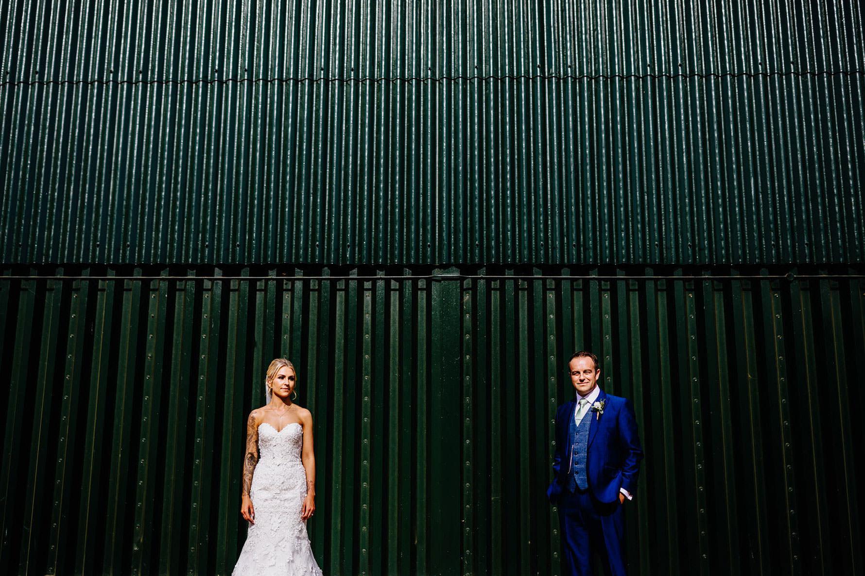 a cool photo of a bride and groom