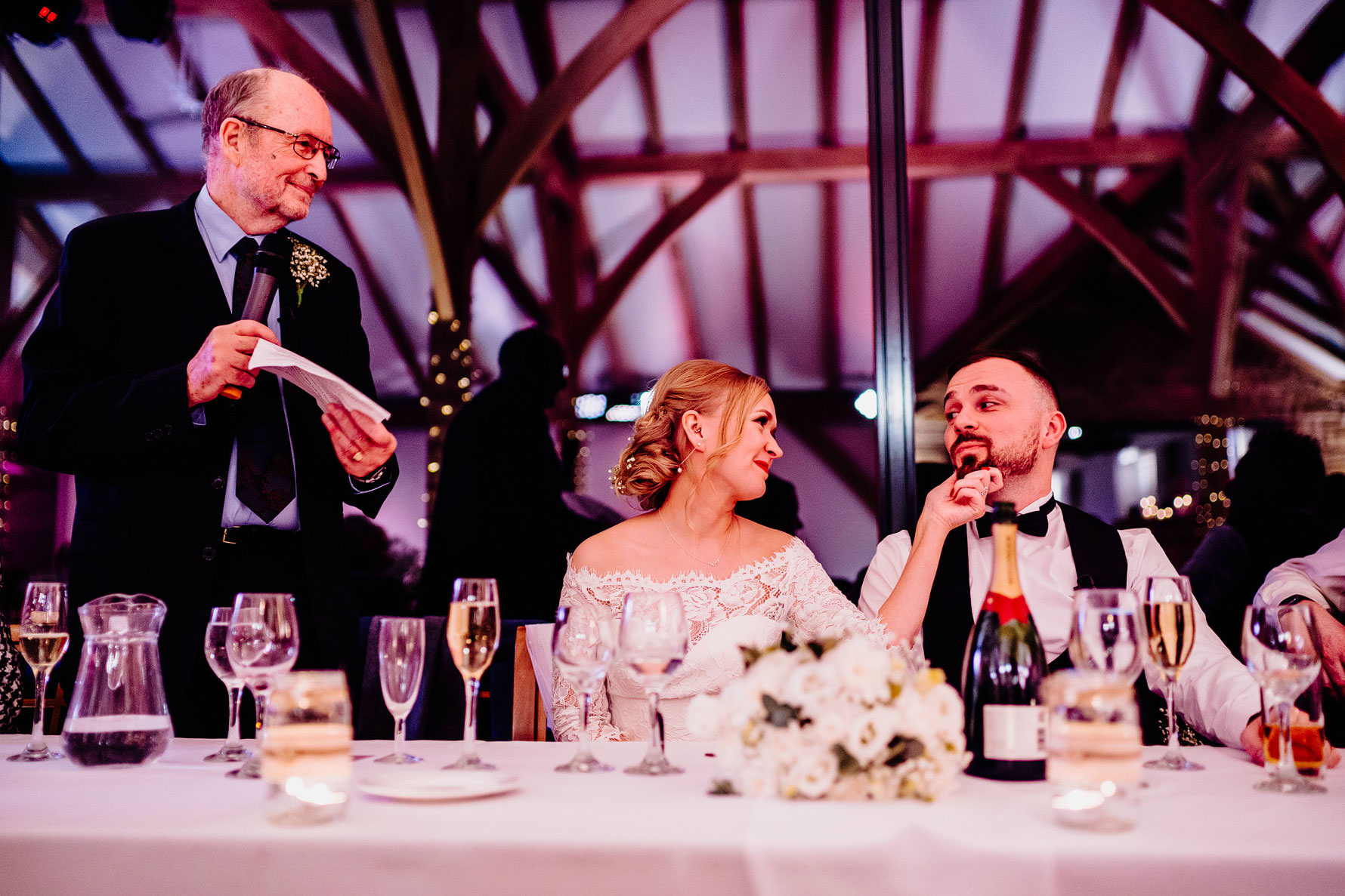 a fun moment during wedding speeches