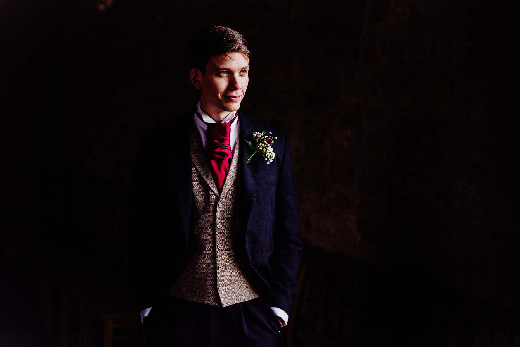 a artistic portrait of a groom