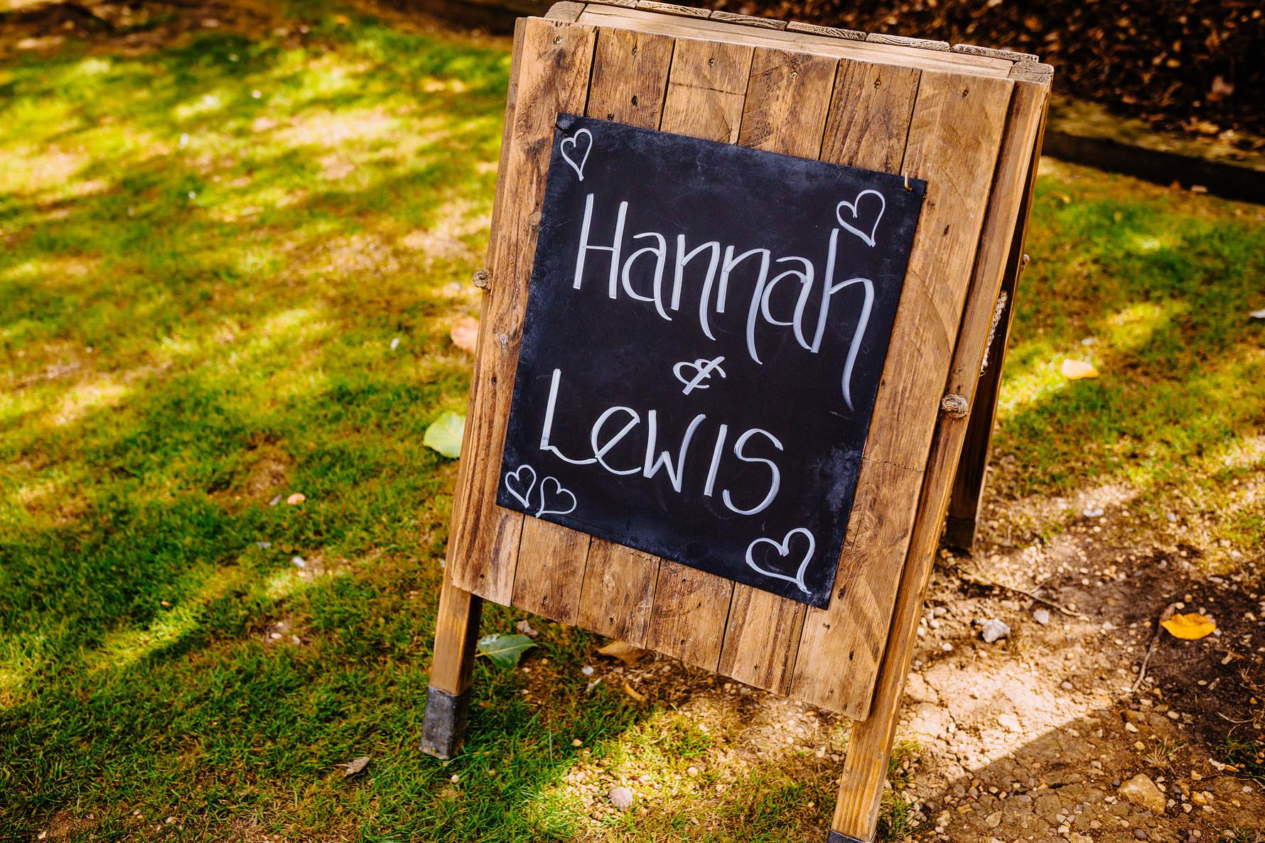 a sign at a wedding