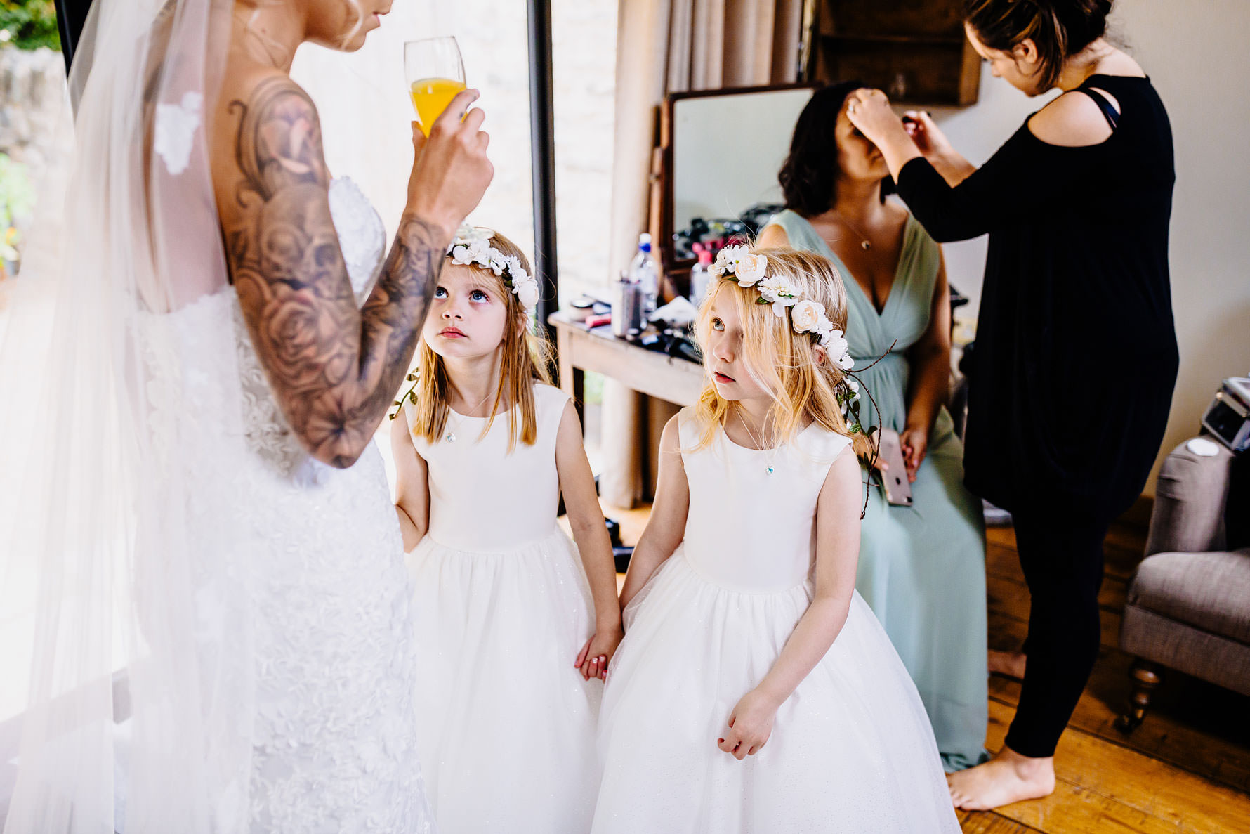 flower girls with head dresses
