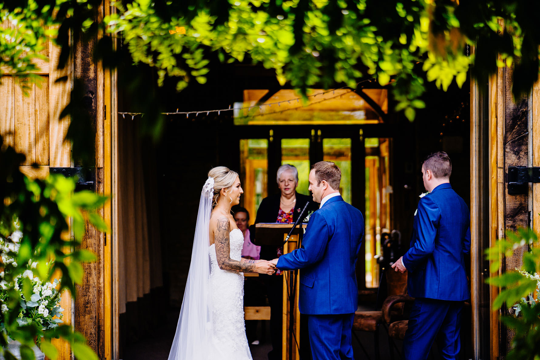 a lovely moment between a bride and groom