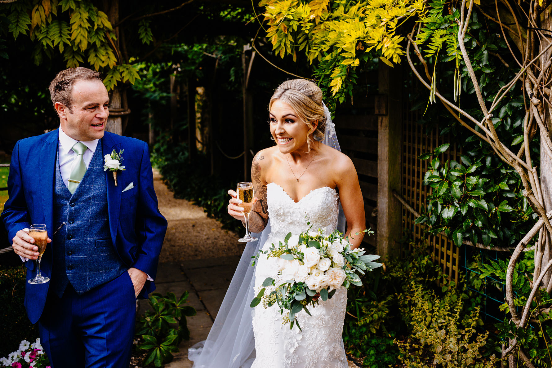 a bride with champagne in her hand