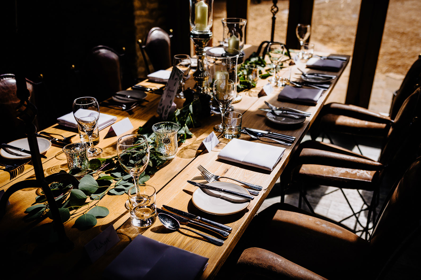 place settings for a wedding breakfast