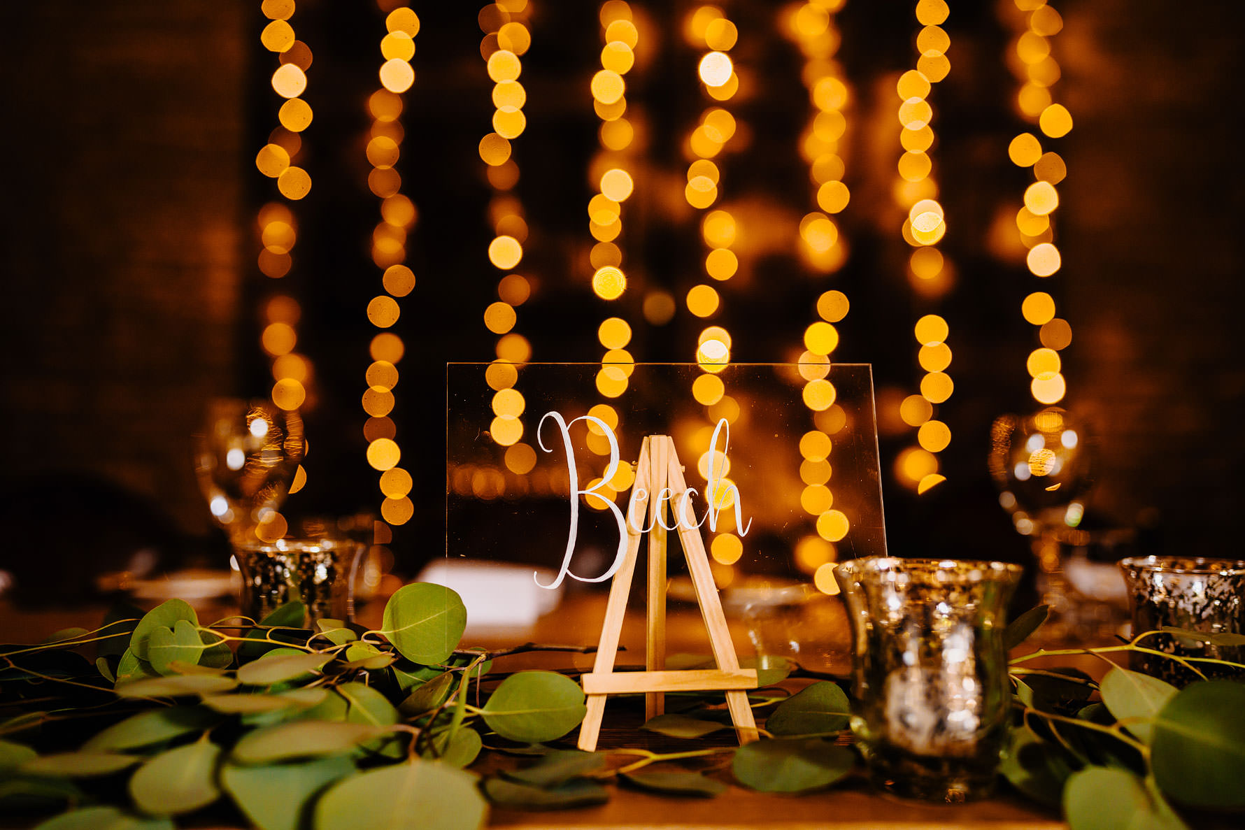 table names with fairy lights