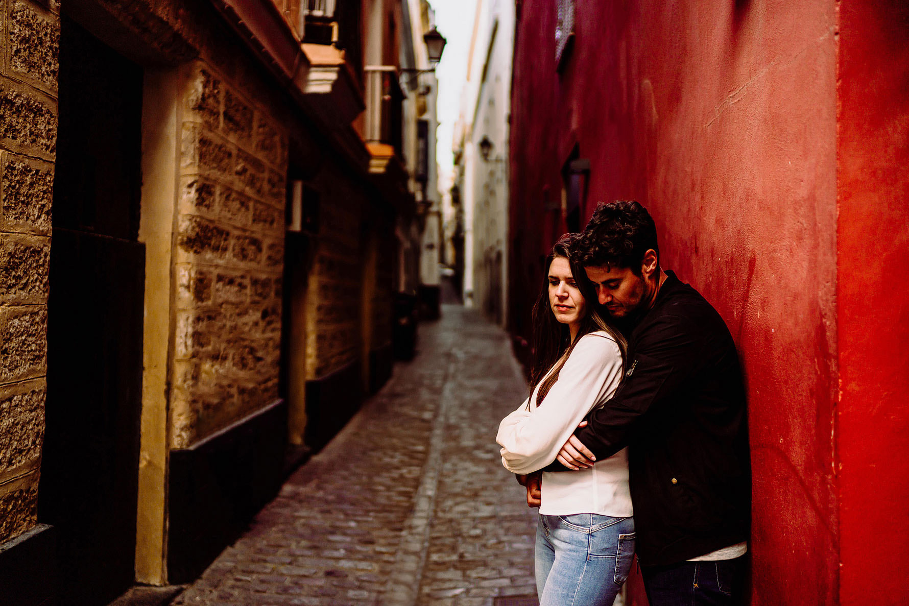 a beautiful moment from a engagement shoot in Cadiz by Elliot W Patching Photography