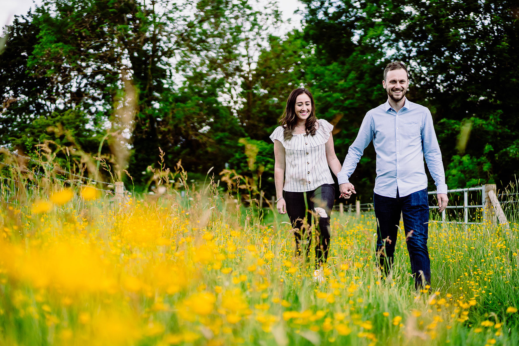 a colourful engagement shoot image in Northamptonshire