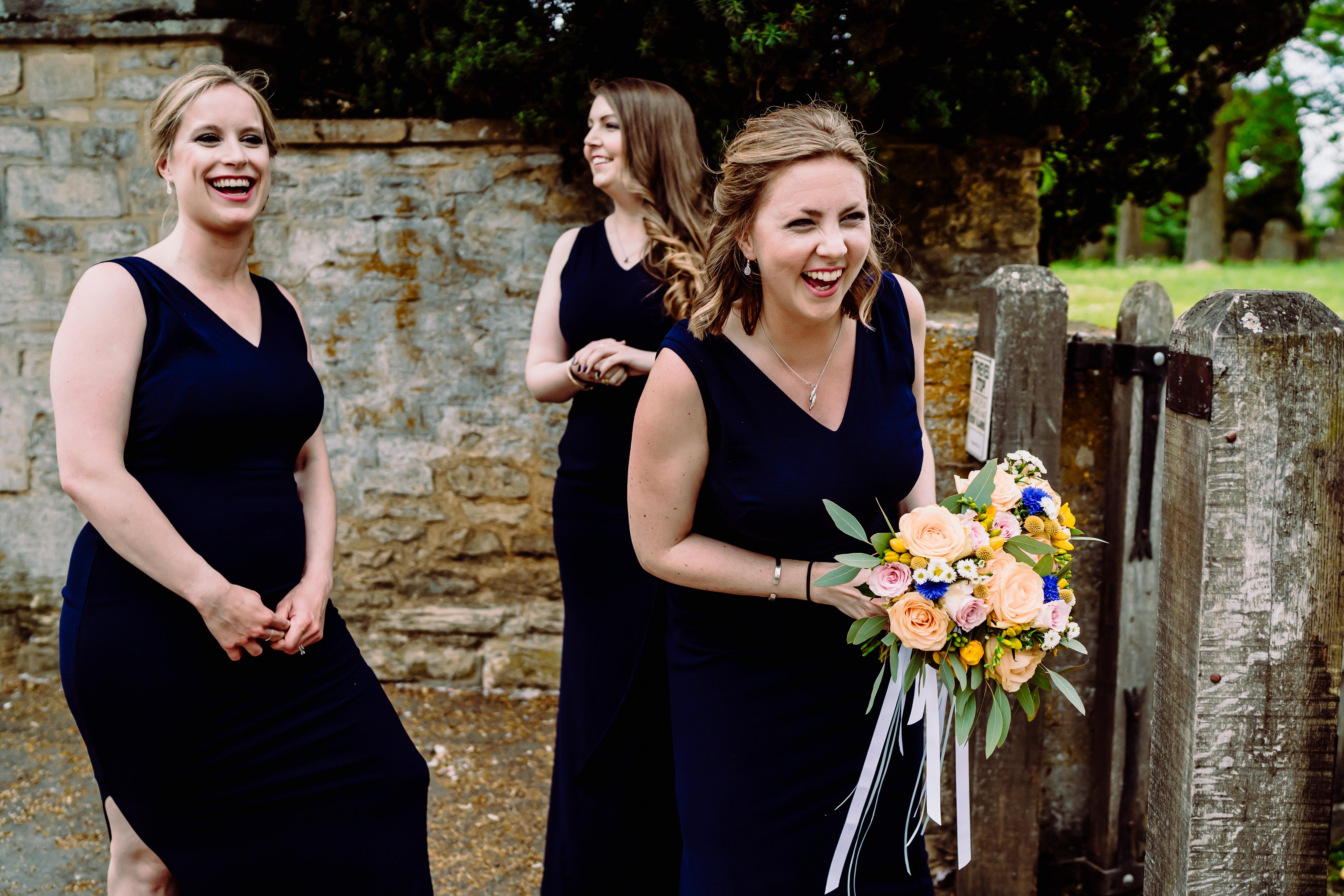 bridesmaids at a church