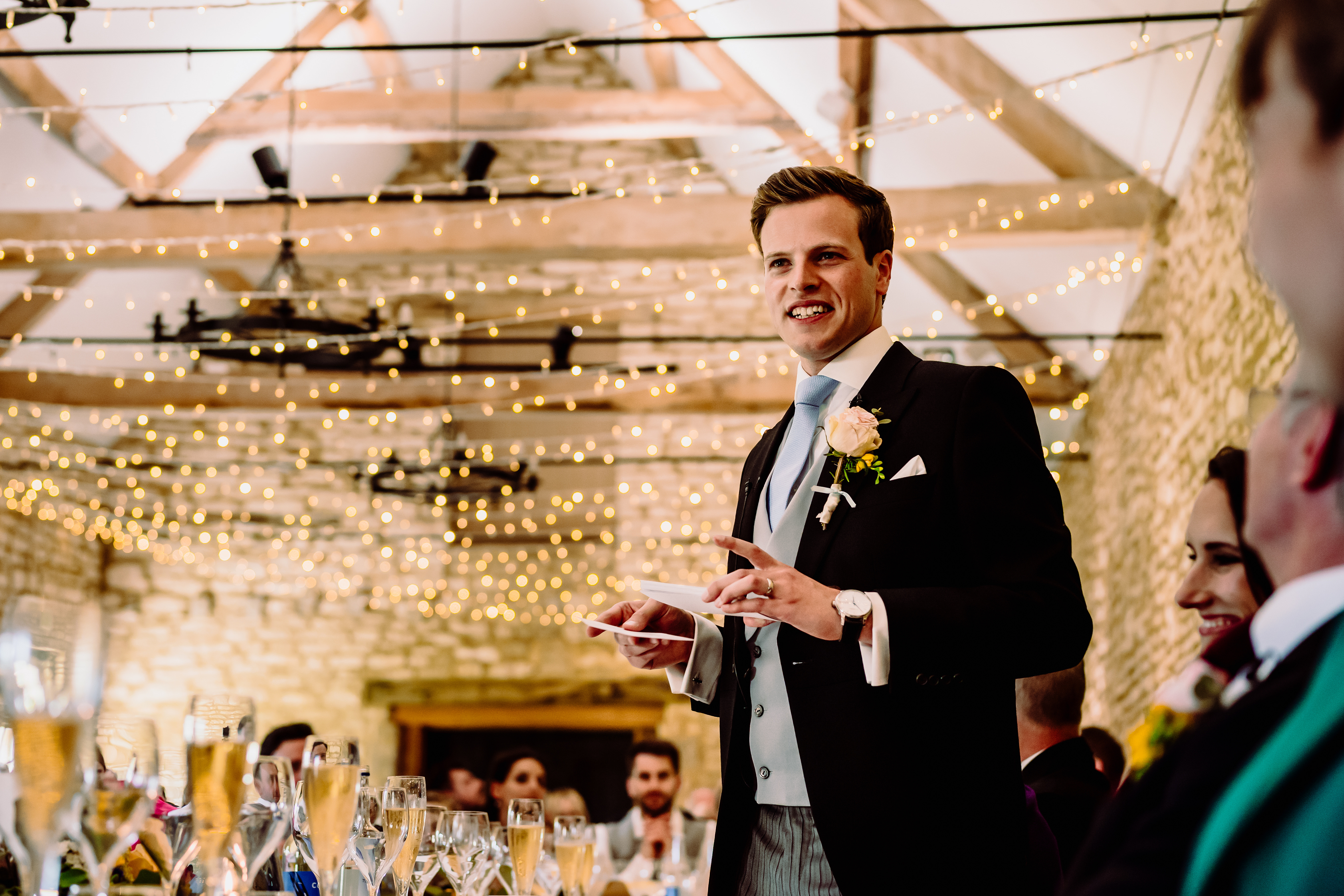 a groom delivering his speech