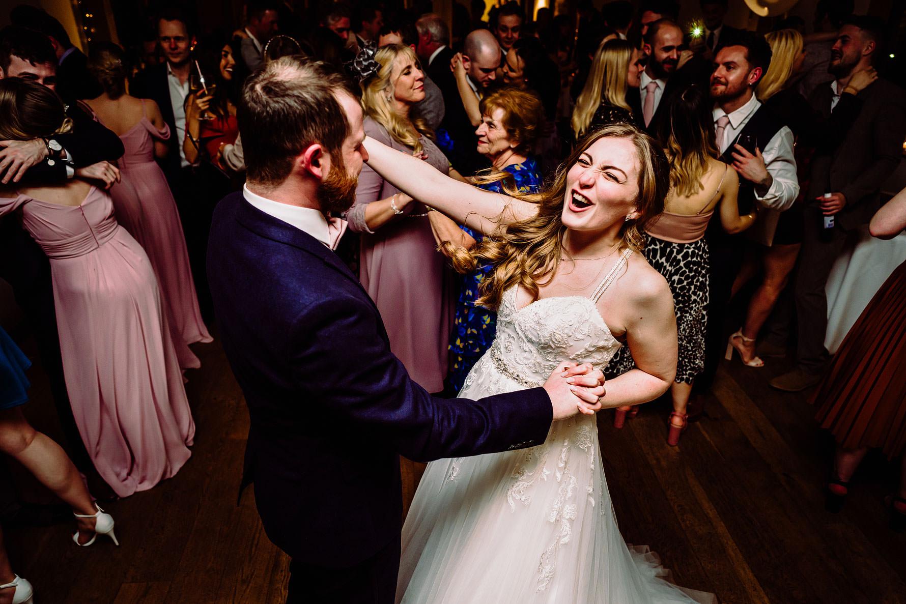 fun on the dance floor at a wedding