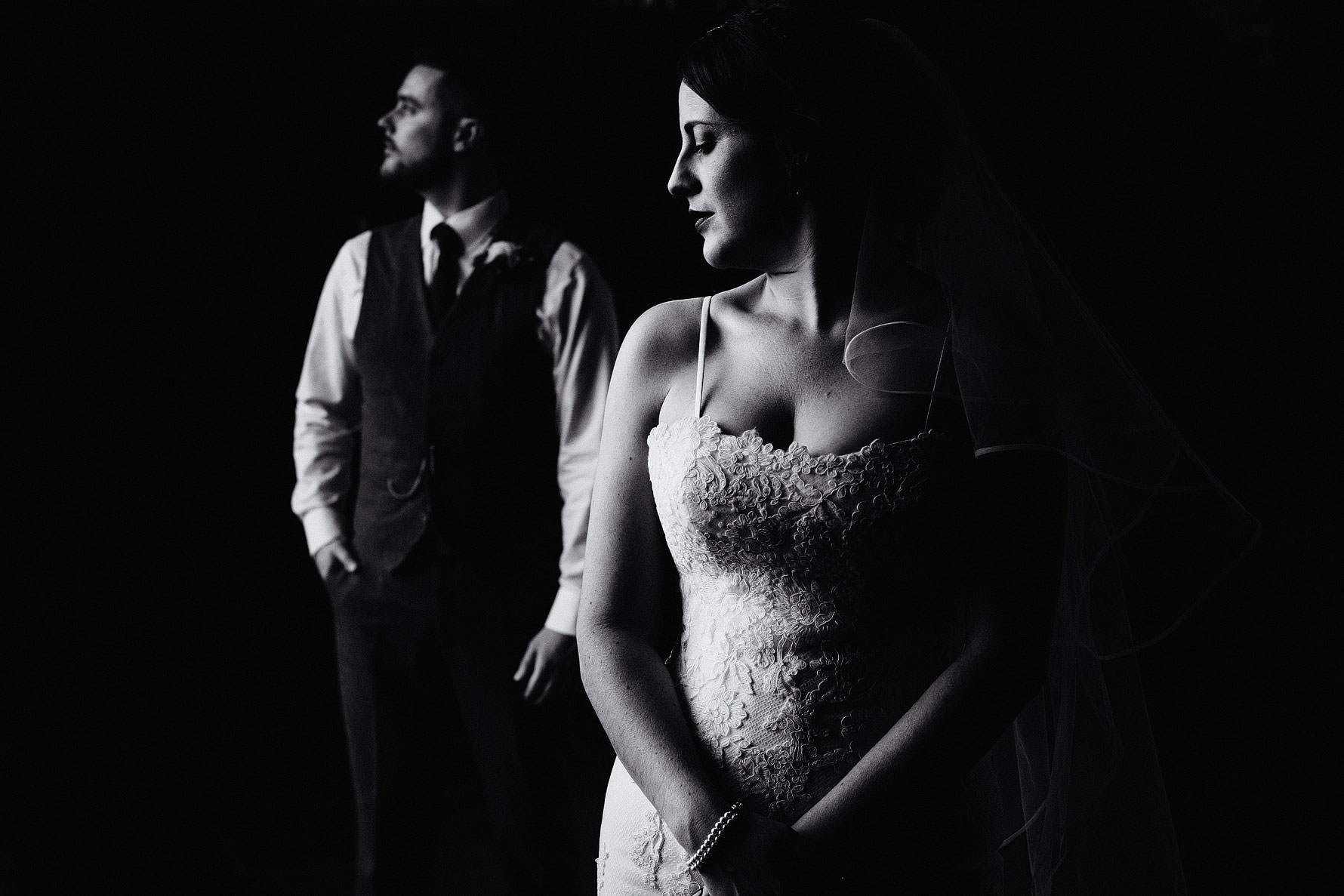 a black and white couple portrait at Dodford manor