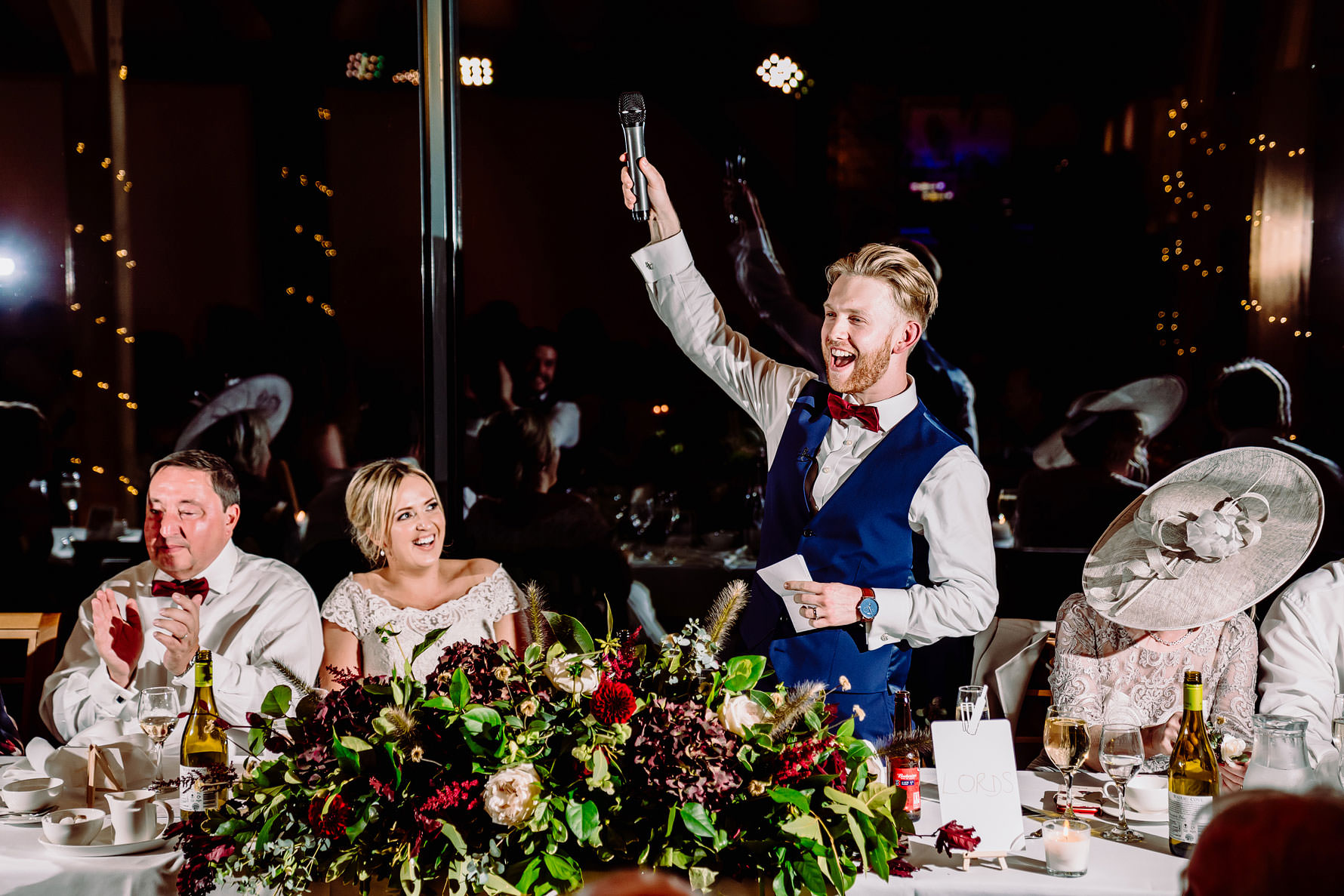 an animated groom during his speech