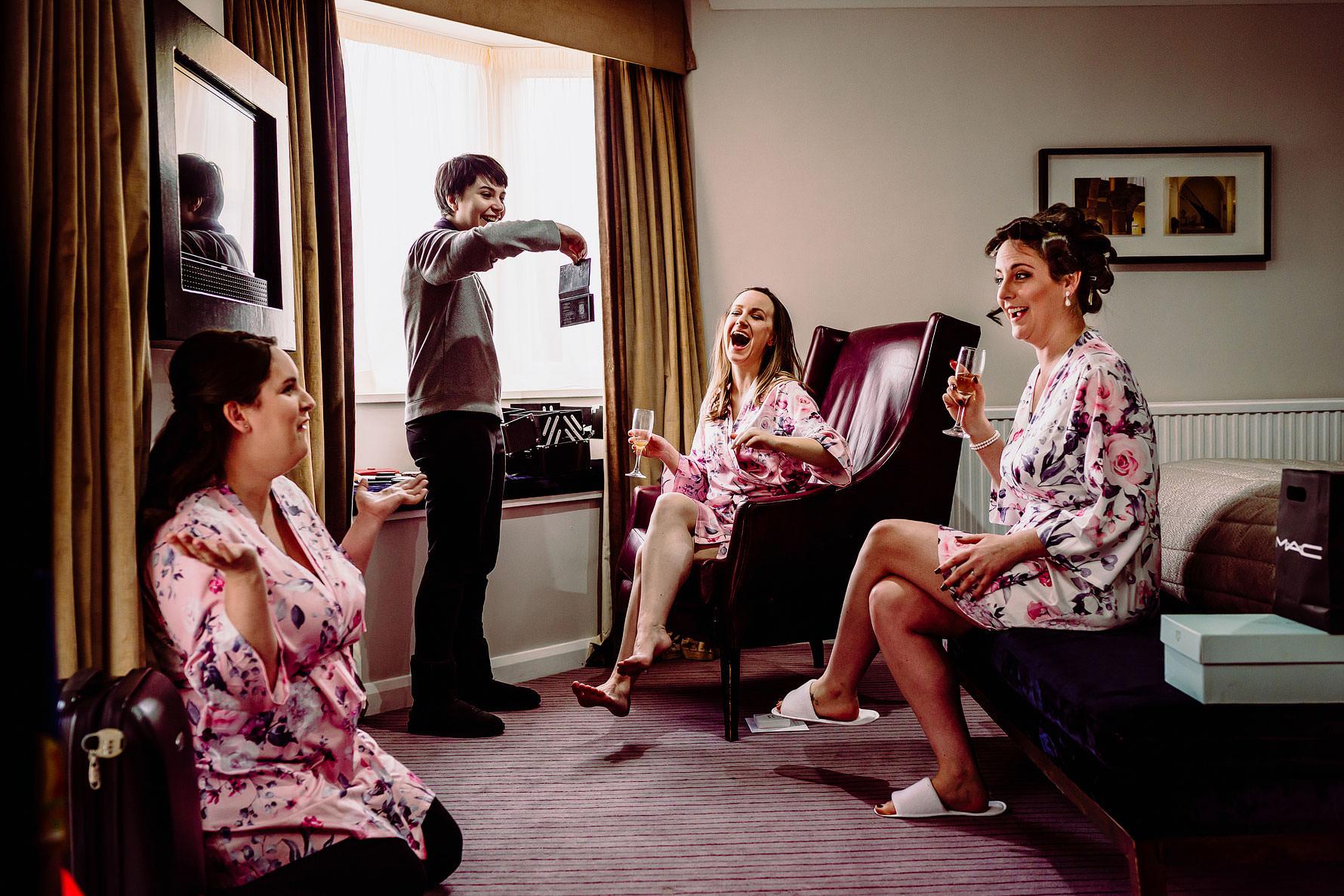 bridesmaids laugh
