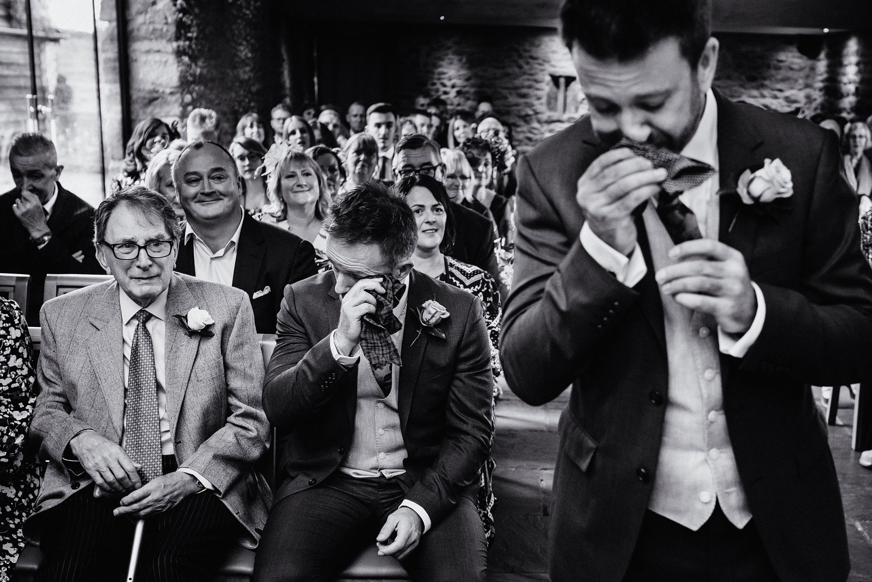groom, brother and father all in tears