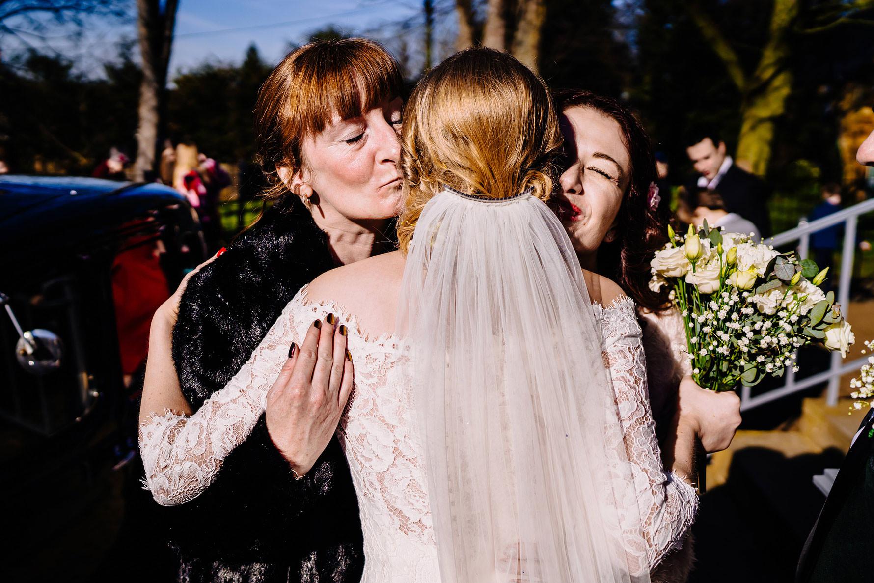 a bride is congratulated