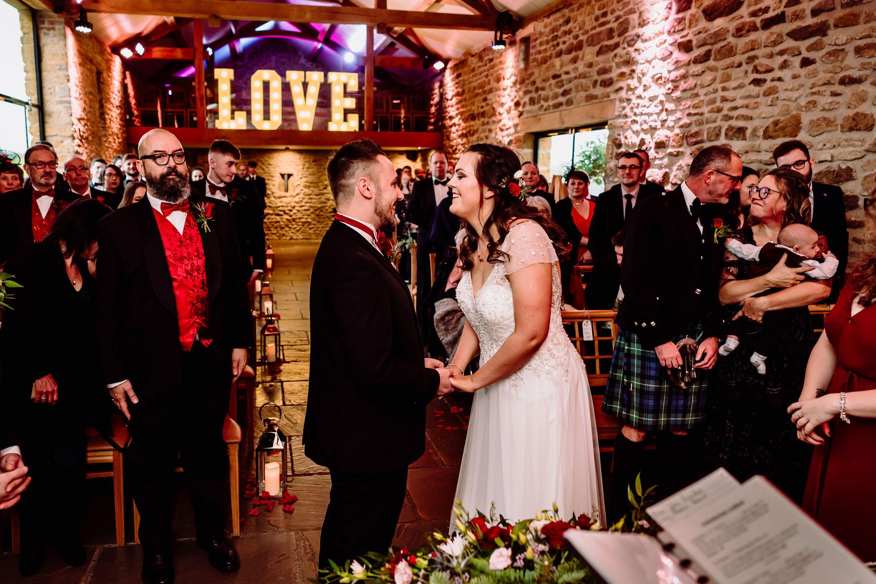 a happy bride and groom