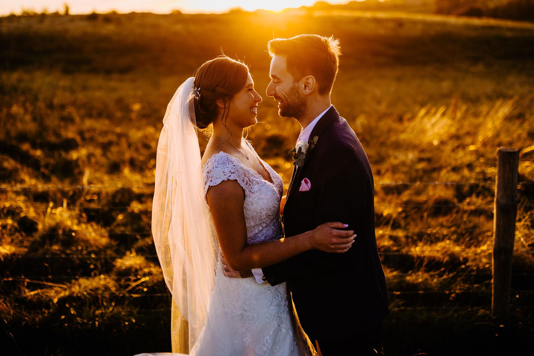 sunset at a wedding