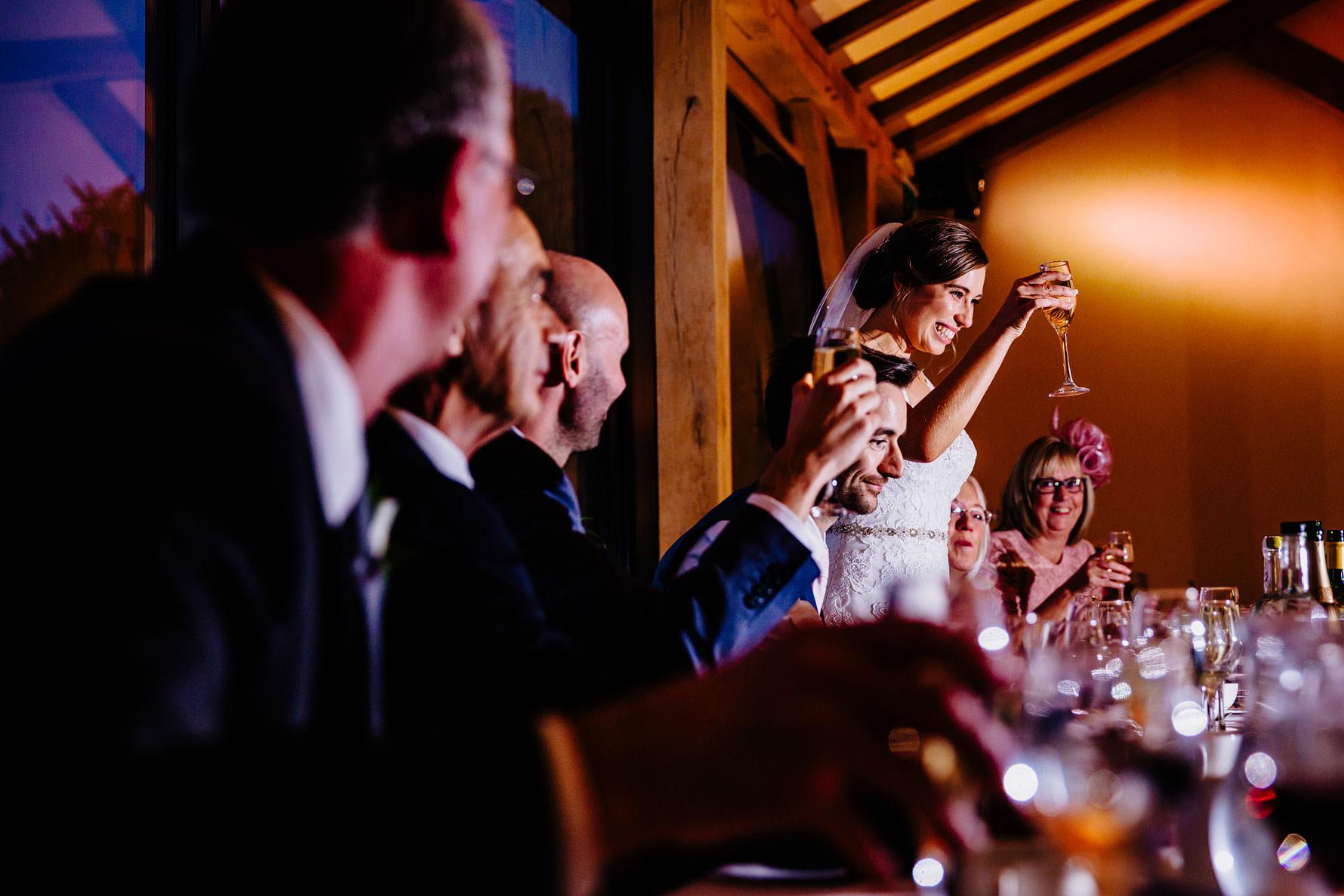 the bride delivers her wedding speech