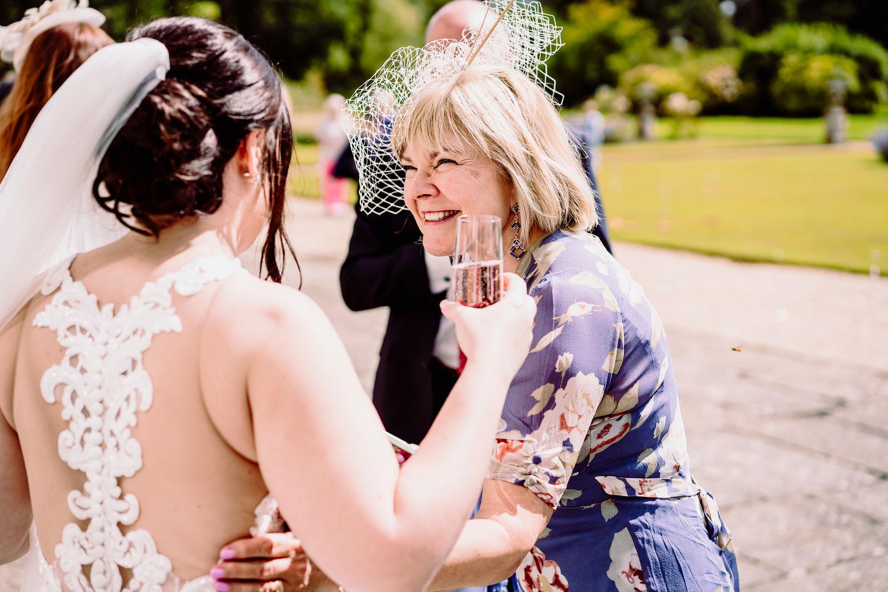 a guest congratulates the bride