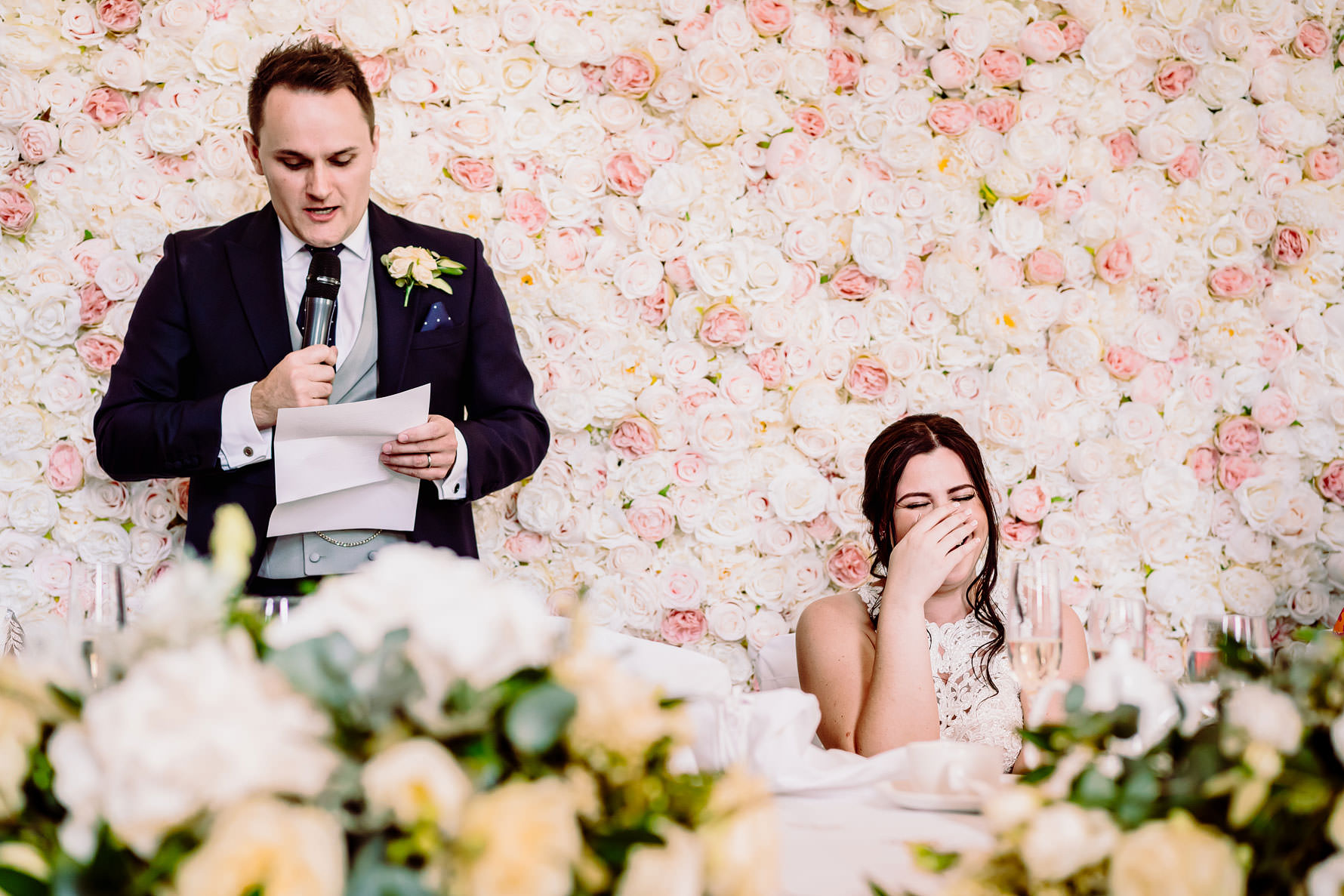 a bride gets embarrassed during the grooms speech