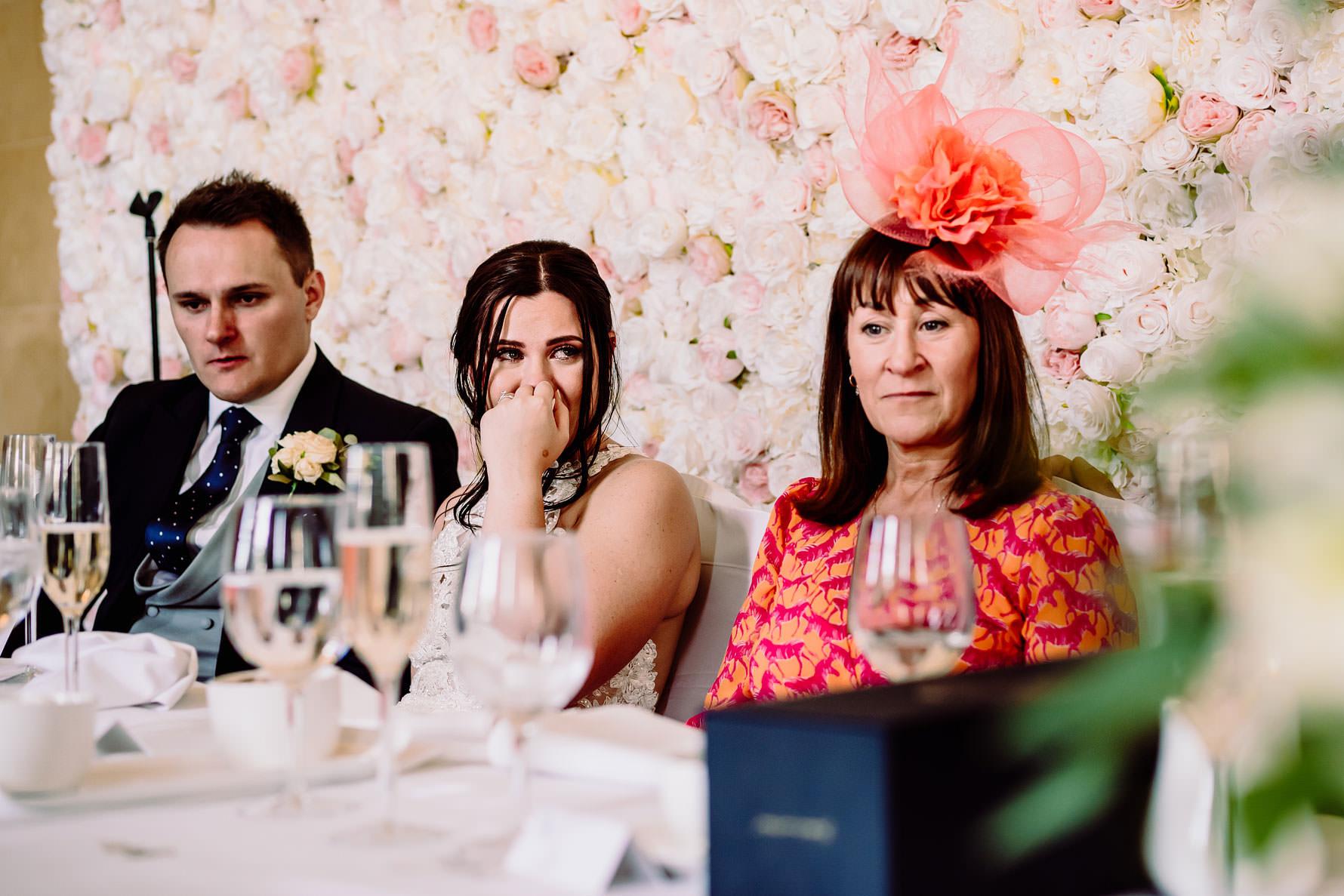 a bride laughs