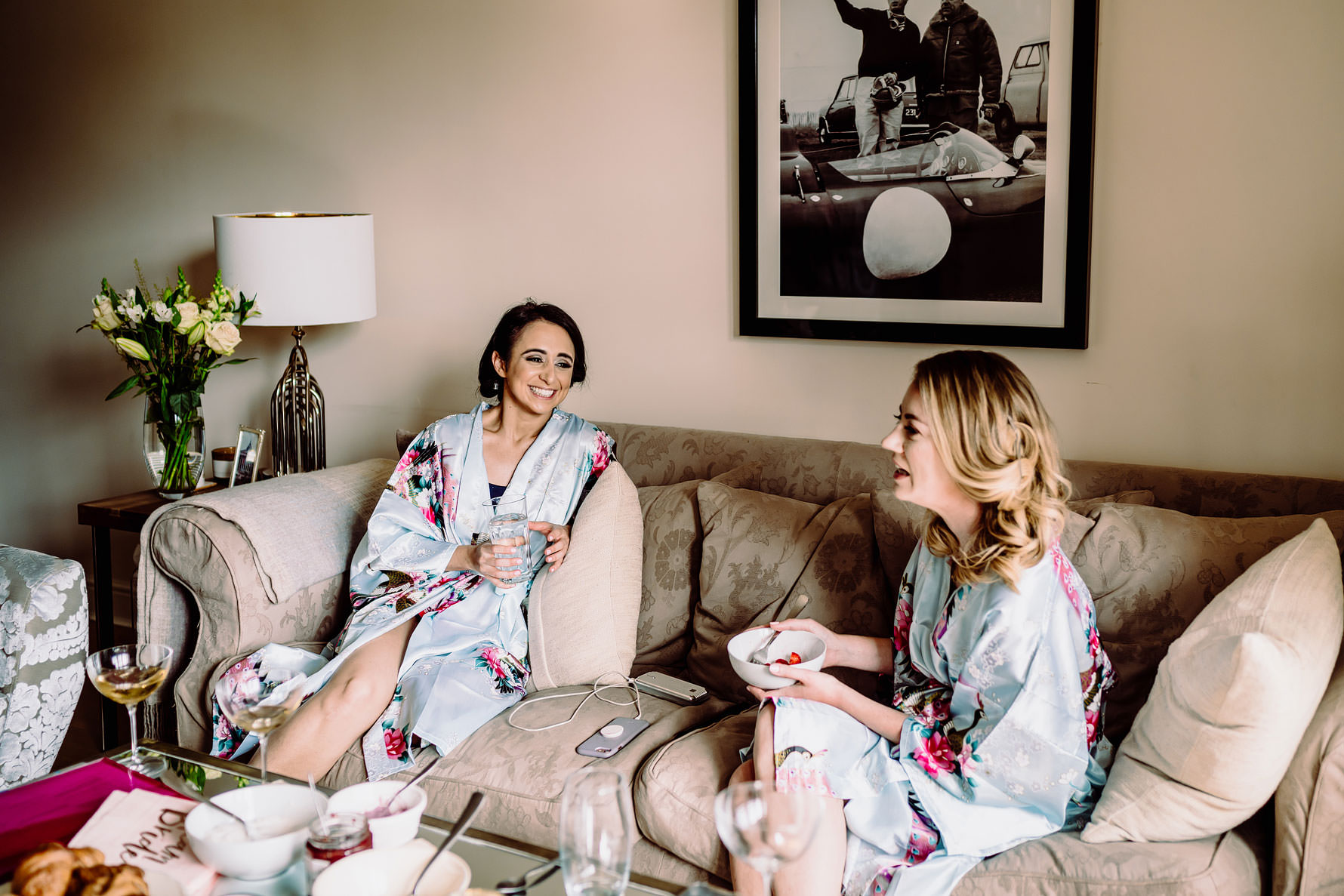 bridesmaids on the morning of a wedding